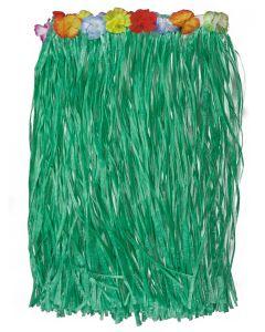 Loftus Hawaiian Green Grass Hula Table Skirt w Flowers Luau Party Decor, 9' L