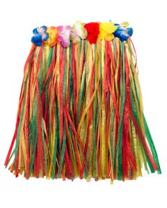 "Colorful Hawaiian Hula Girl Adult Mini Skirt, Rainbow, 24"" Waist, 18"" Long"