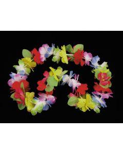 """Loftus Deluxe Luau Flower Pedal Leaves 40"""" Fabric Leis, Rainbow, 12 CT"""