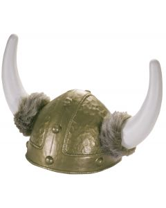Star Power Viking King Warrior Plastic Helmet with Horns & Fur, Silver, One Size