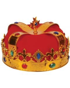 Loftus Deluxe Royal Jewel Encrusted King Crown, Gold Red, One Size