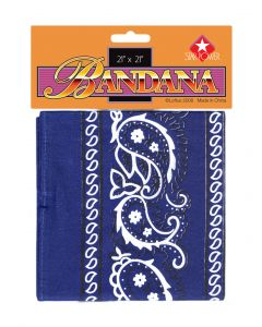 Star Power Cowboy Pattern Hankerchief Bandana, Blue, One Size