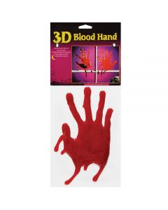 "3D Bloody Handprints Halloween Decoration 9"" Window Clings, Red, 12 Sets of 2"