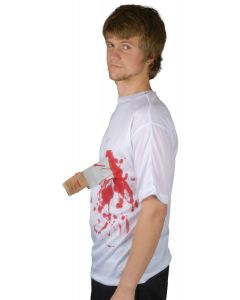 Loftus Halloween Costume Bloody Knife in Chest T-Shirt, White Red, One Size