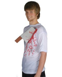 Loftus Halloween Bloody Cleaver in Chest T-Shirt, White Red, One Size