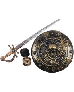 Pirate Warrior Sword Shield Compass 3pc Child Costume Accessory Set, Bronze