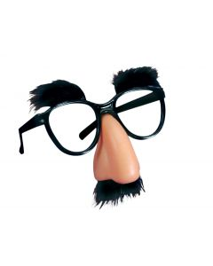 "Joker Classic Fuzzy Nose Disguise Novelty Glasses, Black Beige, One Size 5""W"
