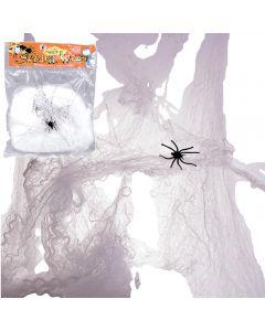 Loftus Halloween Decoration Spider Web w Spider, 20 Grams Webbing, White