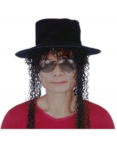 Star Power Adult Legend Michael Hat Wig Glasses 3pc Accessories, Black, O/S