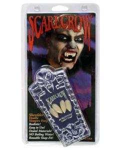 """Shredders Double Vampire 10pc One Size .75"""" Custom Fangs Coffin Kit, White"""