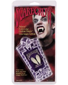 "Saber Extra Long Vampire 10pc One Size 1"" Custom Fangs Coffin Kit, White"