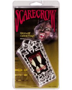 Scarecrow Werewolf Costume Teeth 12pc One Size Custom Fangs Coffin Kit, White