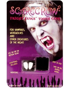 Scarecrow Fright Vampire 3pc One Size Tooth Caps Accessory Kit, White