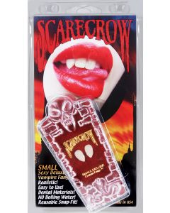 """Scarecrow Deluxe Vampire 10pc Small .5"""" Custom Fangs Coffin Kit, White"""