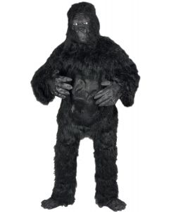 Loftus Fuzzy Gorilla Halloween 6pc Adult Costume, Black, One Size