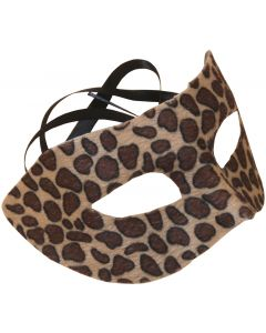 "Spotted Cheetah Masquerade Half Mask, Brown, One-Size 6.5"" W, 6 Pack"