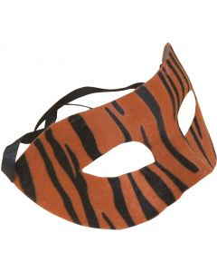 "Star Power Striped Tiger Masquerade Half Mask, Orange Black, One-Size 6.5"" W"