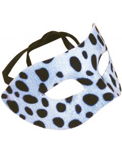 Star Power Adult Dotted Snow Leopard Half Mask, White Black, One-Size