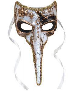 "Plague Doctor Venetian Long Nose Mask, White w Gold & Black Accents, 9"" Long"