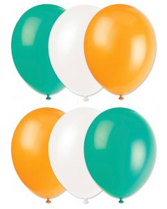 """Miami Dolphins Team Color Party 11"""" Latex Balloons, Teal Orange White, 6 CT"""