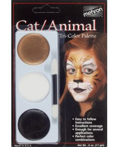 Mehron Kitty Cat Tri Color Cake Halloween Costume .6oz Makeup Palette