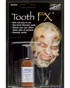 Mehron Zombie Decay Nicotine Tooth 0.25 fl oz FX Liquid, Brown