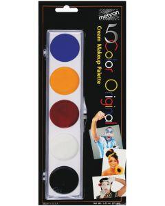 Mehron 5 Color Face or Body Paint With Brush .25oz Makeup Palette, Multicolors