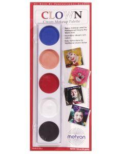 Mehron 5 Color Clown Face Paint .25oz Makeup Palette, Multicolors