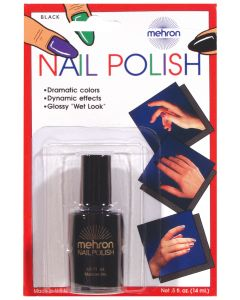 Mehron Professional Glossy Theatrical Costume .5 fl oz Nail Polish, Black