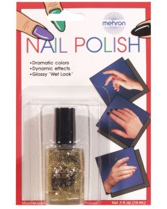 Mehron Professional Glossy Theatrical Costume .5 fl oz Nail Polish, Gold