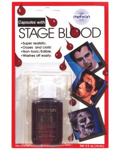 Mehron Stage Blood with Fillable Capsules .5oz Fake Blood, Red