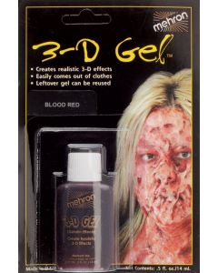 Mehron 3D Gel Professional FX Makeup, 0.5 oz Special Effects Gel, Blood Red