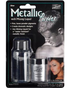 Mehron Metallic Powder w Mixing Liquid 2pc 1oz FX Liquid, Silver