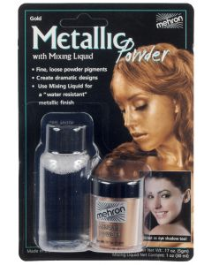Mehron Metallic Powder w Mixing Liquid 2pc 1oz FX Liquid, Gold