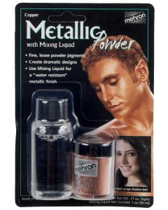 Mehron Metallic Powder w Mixing Liquid 2pc 1oz FX Liquid, Bronze