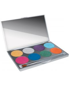 Mehron Paradise Makeup AQ Brillant With Mirror 2pc 56g 8-Color Palette