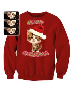 Digital Dudz Adult Xmas Kitty Sweatshirt Ugly Christmas Sweater, Red, X-Large