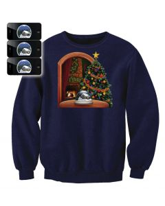 Digital Dudz Adult Moving Snow Globe Ugly Christmas Sweater, Blue, X-Large