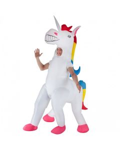 MorphCostumes Giant Unicorn Inflatable Adult Costume, White Pink Blue, One-Size