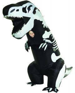 Child Skeleton T-Rex Inflatable Kids Mega Morphsuit, Black White, One Size