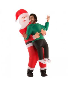 Santa Inflatable Pick Me Up Adult Costume, Red White Black, One-Size