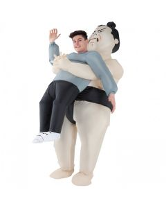 MorphCostumes Sumo Inflatable Pick Me Up Adult Costume, Grey Black, One-Size