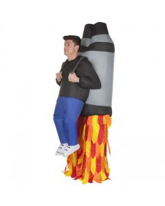 MorphCostumes Jet Pack Inflatable Adult Costume, Grey Red Yellow, One-Size