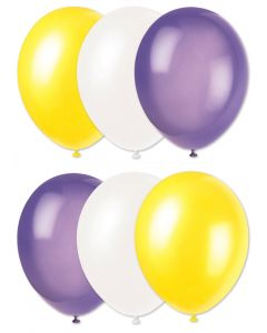 "Football Team Solid Party 6pc 11"" Latex Balloons, Purple Yellow White"