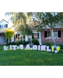 Its a Girl! Decorating 14pc Gender Reveal Yard Card Sign Kit w H-Stakes, Pink