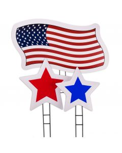 American Flag & Stars 3pc Patriotic Yard Card Statement Sign Kit, Red White Blue