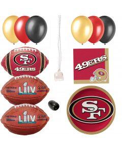 San Francisco 49ers Super Bowl LIV Football 35pc Party Decoration Pack, 8 Guests