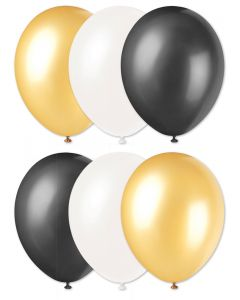 "Football Team Solid Party 11"" Latex Balloons, Gold Black White, 6 CT"