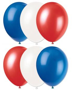 "Football Team Fan Solid 3-Color Party 11"" Latex Balloons, Blue Red White, 6 CT"