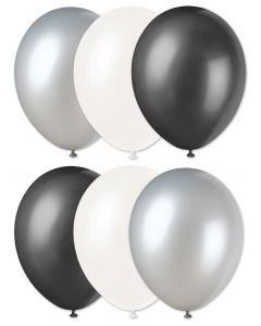 "Football Team Fan Solid 3-Color Party 11"" Latex Balloons, Grey Black White, 6 CT"